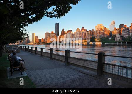Lower East Side di Manhattan all'alba come visto da Roosevelt Island. In primo piano è l'East River, New York City, Foto Stock