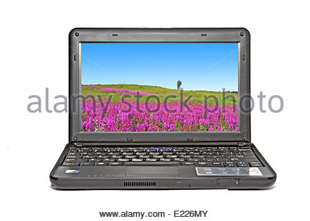 Netbook moderna su sfondo bianco Foto Stock