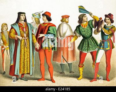I dati italiani rappresentati data di D.C. 1400. Essi sono, da sinistra a destra: Fiorentina, due uomini di rango Foto Stock