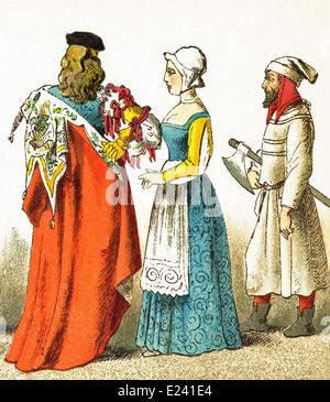 I dati italiani rappresentati data di D.C. 1400. Essi sono, da sinistra a destra: veneziana di rango, femmina cittadino, Foto Stock