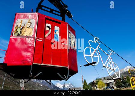 Francia, Hautes Alpes, Briancon, marcatura di installazione ingresso del paese Foto Stock