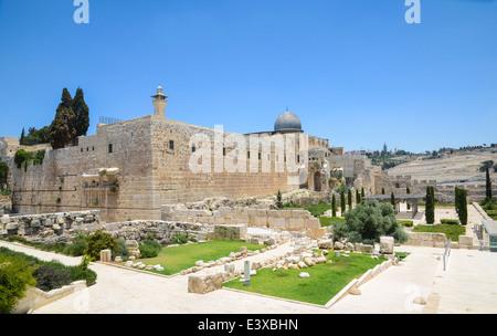 Israele, Gerusalemme, la Città Vecchia, la moschea Al Aqsa sul Monte del Tempio Foto Stock