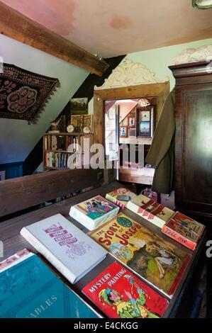 Una selezione di libri d'epoca sul vecchio telaio rack