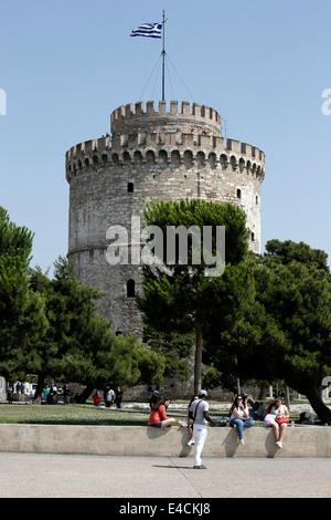 Il punto di riferimento di Salonicco, la Torre Bianca. La Grecia settentrionale Foto Stock
