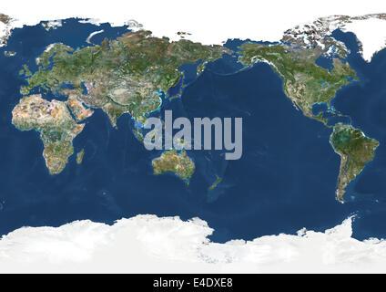 Mappa mondo centrato sull oceano pacifico foto immagine - Immagine di terra a colori ...