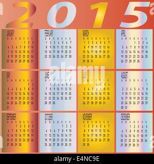 Calendario Anno 2015 Mensile.Anno 2015 Mensile Calendario Colorate Foto Immagine Stock
