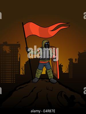 L'uomo pone una bandiera oltre la rovina della città. Alfiere sulla montagna dopo la guerra. Foto Stock