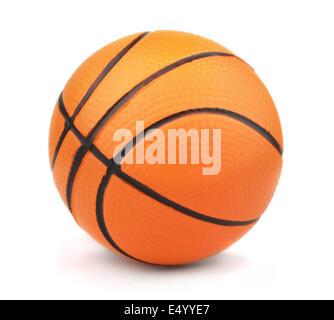 Piccolo giocattolo basket ball isolato su bianco Foto Stock