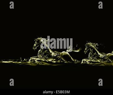 Sagome di due cavalli in corsa fatta di oro liquido sul nero. Foto Stock