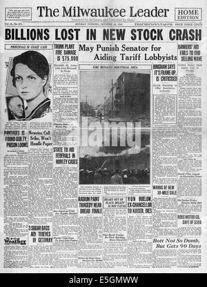 1929 Milwaukee Journal (USA) pagina anteriore reporting crollo di Wall Street Foto Stock