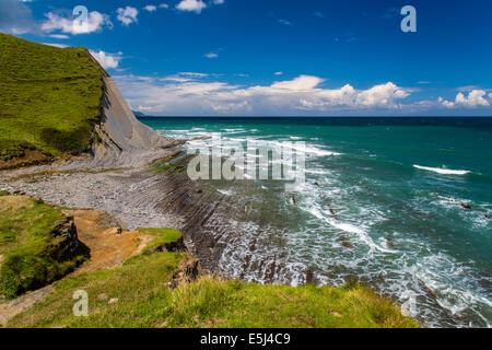 Formazioni rocciose sedimentarie, Costa Basca Geopark, Zumaia, Gipuzkoa, Paesi Baschi