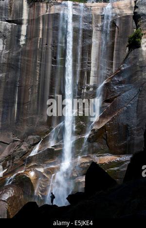 Silhouette di una persona di fronte di caduta primaverile, Yosemite National Park, California USA Foto Stock