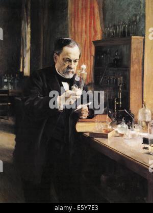 LOUIS PASTEUR (1822-1895) chimico francese e microbiologo dipinta da Albert Edelfeldt nel 1885 Foto Stock