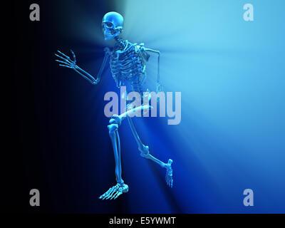 Scheletro umano in esecuzione - 3D render illustrazione Foto Stock