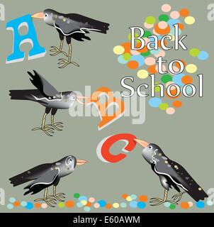 Disegnato a mano uccelli divertenti, tenendo alfabeto lettere di picchi, concetto si torna a scuola Foto Stock