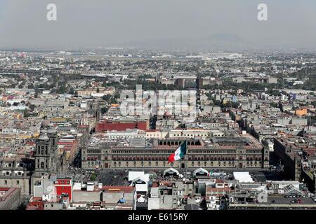 Vista dalla Torre Latinoamericana, 182m, di Città del Messico, del Distretto Federale, Messico Foto Stock