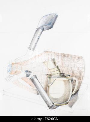 Disegnata a mano studio artistico di composizione con gli oggetti Foto Stock