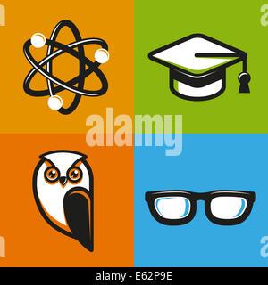 I concetti di educazione nel profilo piatto stile - La scuola e l università di icone e indicazioni Foto Stock