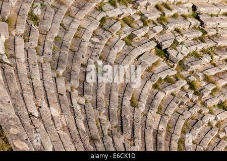Dettaglio del teatro in Delphi oracle, Grecia Foto Stock