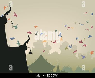 Illustrazione Vettoriale di coloratissimi piccioni in volo per un tempio buddista tetto Foto Stock