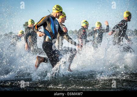 I partecipanti di Ironman Triathlon di partenza della gara nel surf, Amager Strandpark, Copenhagen, Danimarca Foto Stock