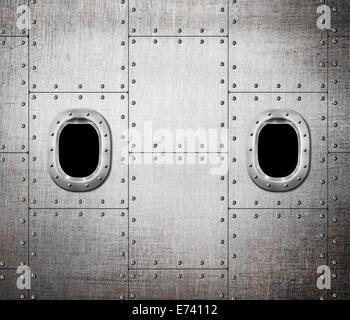 Nave o sottomarino finestra di sfondo in metallo Foto Stock