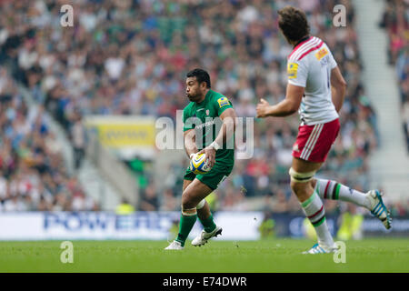 Twickenham, Regno Unito. 06 Sep, 2014. Aviva Premiership Rugby. London Irish versus arlecchini. London Irish flanker Foto Stock
