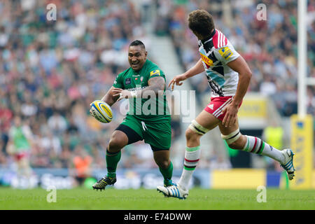 Twickenham, Regno Unito. 06 Sep, 2014. Aviva Premiership Rugby. London Irish versus arlecchini. London Irish tighthead Foto Stock
