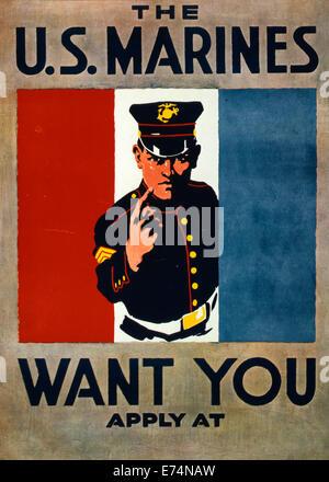Stati Uniti Marines desidera che voi - STATI UNITI Marines assunzione poster di metà lunghezza Ritratto di marine Foto Stock