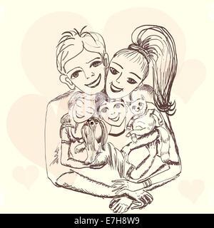 Famiglia allegra.il ritratto del padre, madre, figli Foto Stock