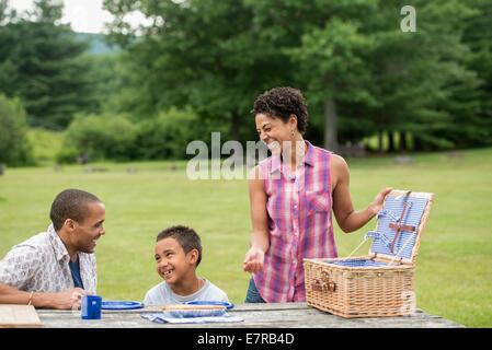 Famiglia avente un picnic in estate.