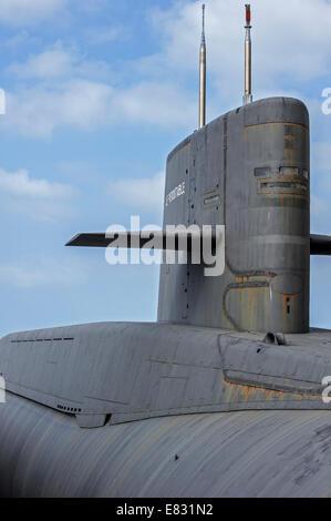 Vela di temibile, missile balistico sommergibile della marina francese a Cité de la Mer, museo marittimo, Cherbourg, Foto Stock