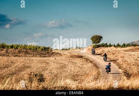 Vista posteriore di quattro amici a guidare moto su strada rurale, Cagliari, Sardegna, Italia Foto Stock