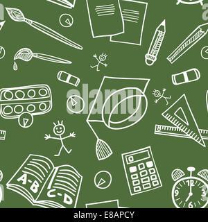 Si torna a scuola seamless pattern con forniture scarabocchi su lavagna Foto Stock