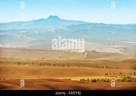 Visualizza modulo comune Pienza a vulcano Monte Amiata in Toscana, Italia Foto Stock