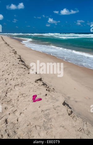 Rosa flip flop su una spiaggia deserta in Barbados. Foto Stock