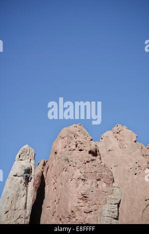 Stati Uniti d'America, Colorado, El Paso, Colorado Springs, Giardino degli dèi, Giardino Drive, scalatore di guglia di arrampicata