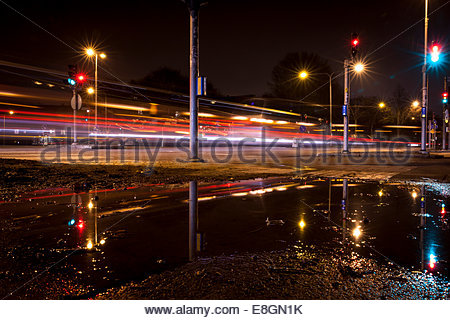 Semaforo percorsi su strada di notte Foto Stock