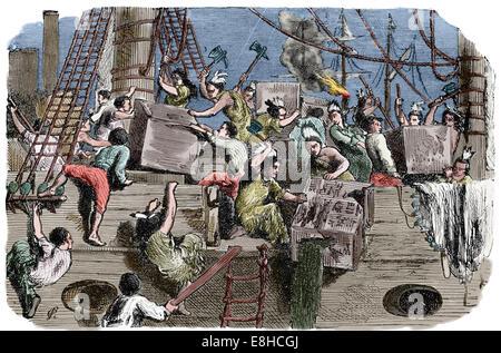 Il Boston Tea Party. Protesta politica da parte dei figli di Liberty in Boston. Dicembre 16, 1773. Incisione. Colorazione Foto Stock