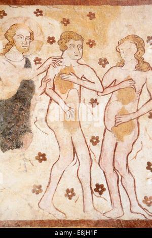 Adamo ed Eva bandito dal giardino di Eden. Murale : XII al XVI secolo. Chiesa di Moutiers. Foto Stock
