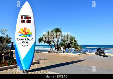 SURFERS PARADISE - Sep 30 2014:La Gold Coast e dei Giochi del Commonwealth di orologio per il conto alla rovescia.Nel Foto Stock