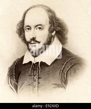 William Shakespeare (1564-1616), poeta inglese, drammaturgo e attore, ampiamente riconosciuto come più grande drammaturgo, Ritratto Foto Stock
