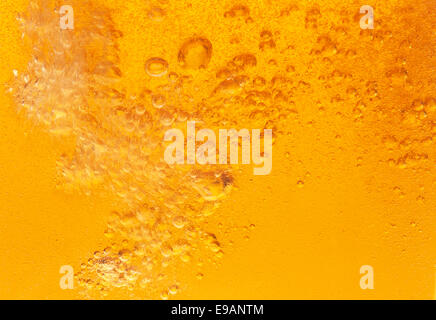 Close-up di golden bolle nella birra. Foto Stock