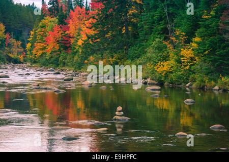 Colori autunnali in Adirondacks State Park, vicino a Lake Placid nella parte settentrionale dello Stato di New York, Foto Stock