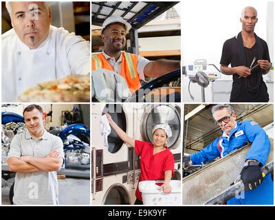 Collage di persone con diverse professioni Foto Stock