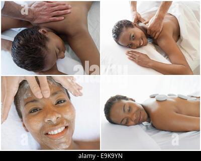 Collage di donna riceve il trattamento termale Foto Stock