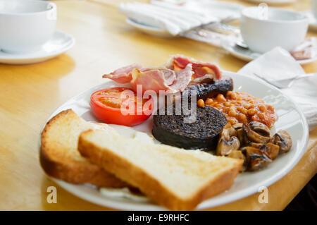 Piastra con la colazione scozzese contenente toast, uova fritte, fagioli al forno e grigliate di black pudding, salsiccia, pomodoro, mushroo
