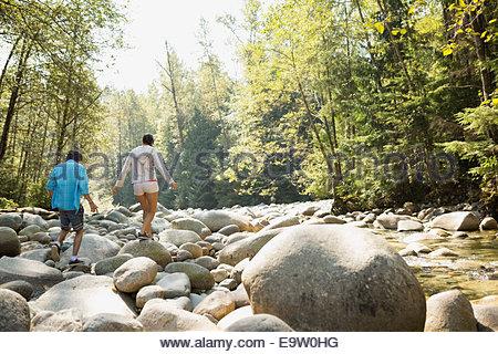 Amici camminando sulle rocce a creekside nei boschi Foto Stock