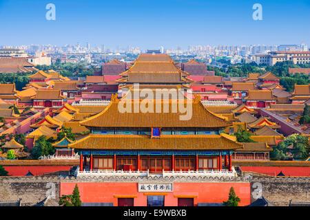 Pechino, Cina skyline della città alla Città Proibita. Foto Stock