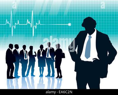 Solo l'uomo in piedi di fronte a grandi cardiogram con heartbeat Foto Stock